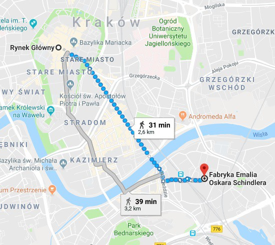 main-market-square-to-schindlers-factory-route